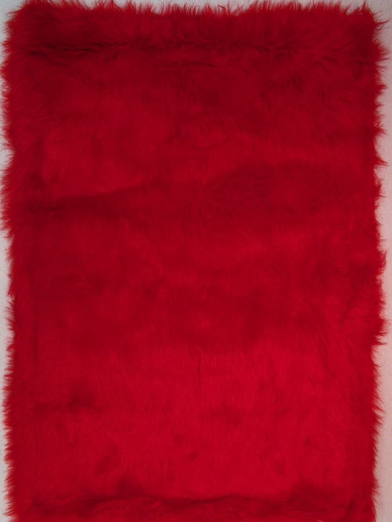 "Fun Rugs - Kids Flokati 3'3""x4'10"" Rectangle Red Area Rug - The Flokati area rug Collection offers an affordable assortment of Kids stylings. Flokati features a blend of natural Red color. Machine Made of 100% Polyester the Flokati Collection is an intriguing compliment to any decor."