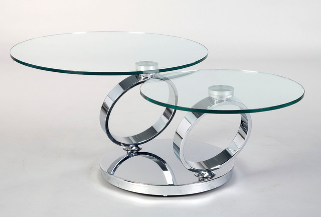 2 Levels Swivel Round Glass Coffee Table contemporary-coffee-tables