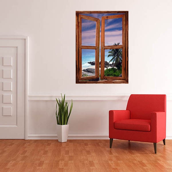 STUNNING SEYCHELLES SEASCAPE WINDOW VIEW WALL DECAL Tropical Decals