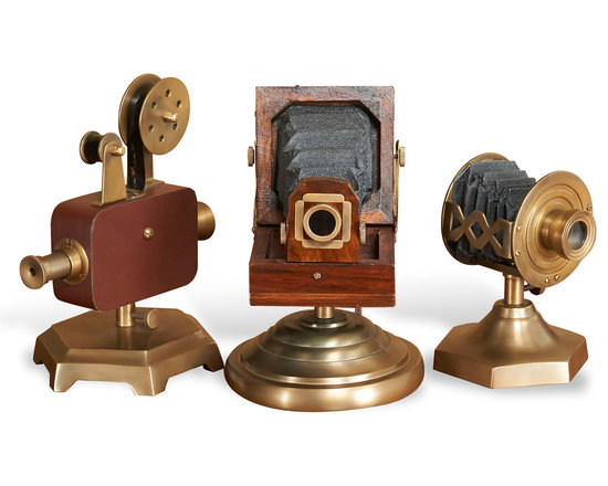 Kathy Kuo Home - Novak Hollywood Regency Antique Brass Camera Projector Reproductions - Set of 3 - Lights! Camera! Action! Direct all the attention to these reproductions of projectors and cameras from the Golden Age of Hollywood. Beautiful in antique bronze and deep brown, this classic collection attracts all the right attention.
