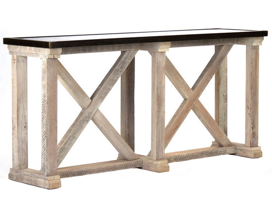 """Zentique - Zentique Leonard Console Table - Zentique's Leonard console table exudes dramatic modern and rustic elements. Its lofty frame offers geometric panache, while a rust and copper-finished top delivers industrial intrigue. 72""""W x 18""""D x 34""""H; Between legs: 30.5""""W; Sandy white reclaimed pine; Steel-banded iron edge; Lacquer sealed"""