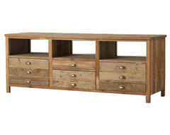Elegant Reclaimed Wood Media Console eclectic media storage