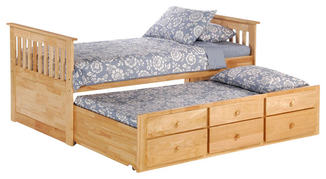Night And Day Ginger Captains Bed With Drawers And Trundle