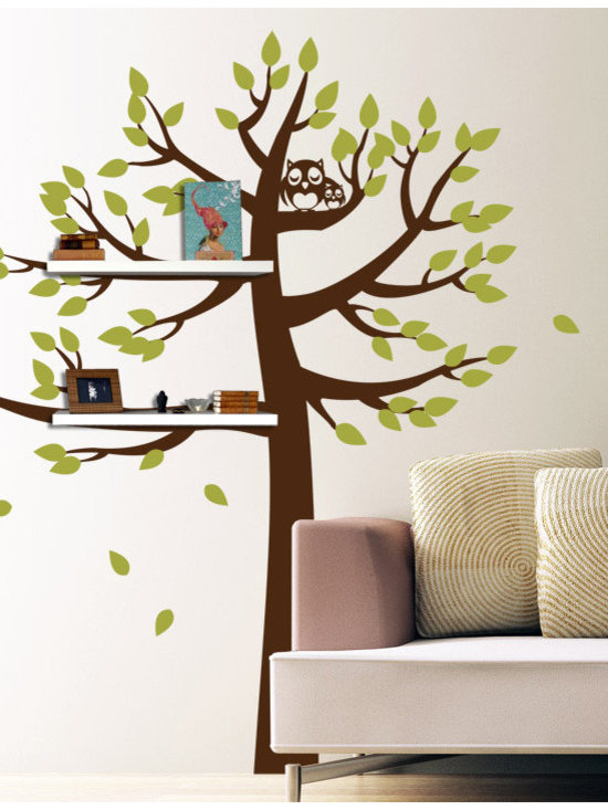 Shelving Tree with Owls - Original design © 2012 Wall Definition.