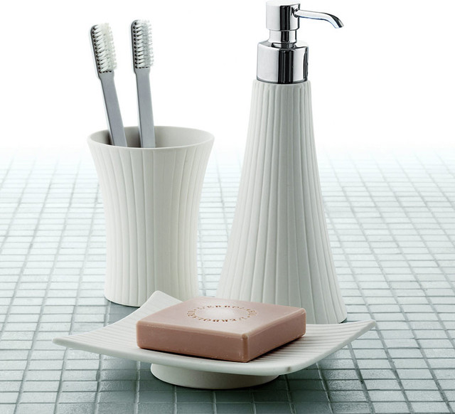 Madame white porcelain vanity bathroom accessory set for White bath accessories sets