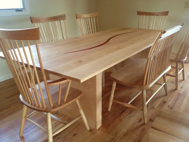 Solid Maple Lintel Dining Table With Coral Inlay Contemporary Din