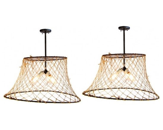 Eco Friendly Furnture and Lighting - Crab Pot Lights.USA 20th century Quirky, fun, and functional, triple socket, crab pot lights. Use in dining room, beach house, over island, on porch. Charming.