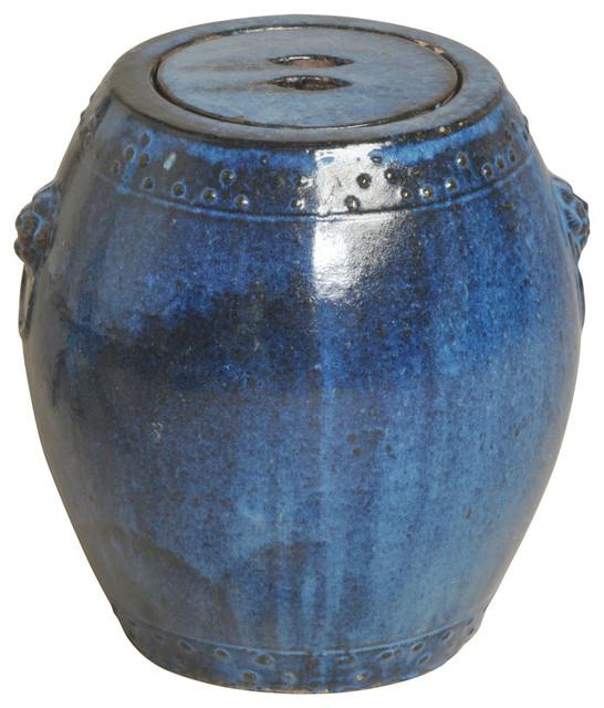 ocean blue coastal beach storage ceramic garden stool seat