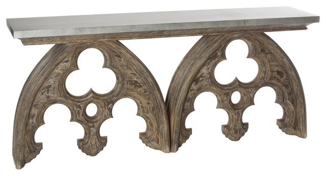 Aidan Gray Arched Cathedral Table with Tin Top traditional-side-tables-and-end-tables
