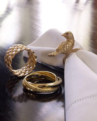 L'Objet Four Matte Gold Braid Napkin Rings traditional-napkin-rings