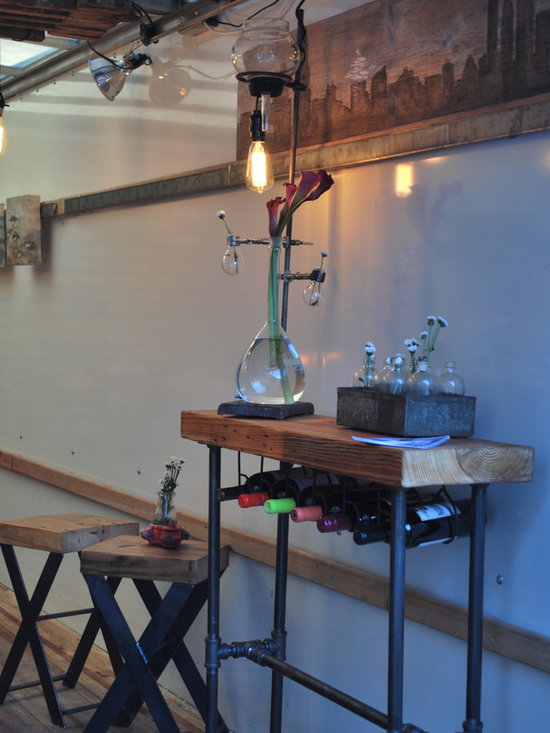 Wine Rack Console Table - Custom Wine rack console table made from reclaimed wood. Customized shape, size and width of wood.