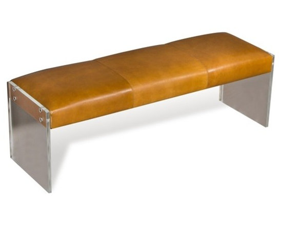 Aiden Tan Leather Lucite Bench -