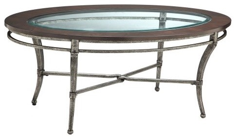 Stein World Verona Oval Metal with Wood and Glass Top Coffee Table