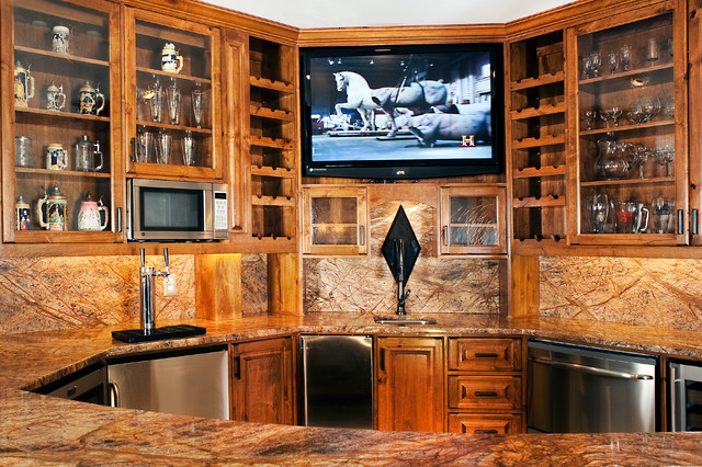 Custome Home Bar Traditional Basement