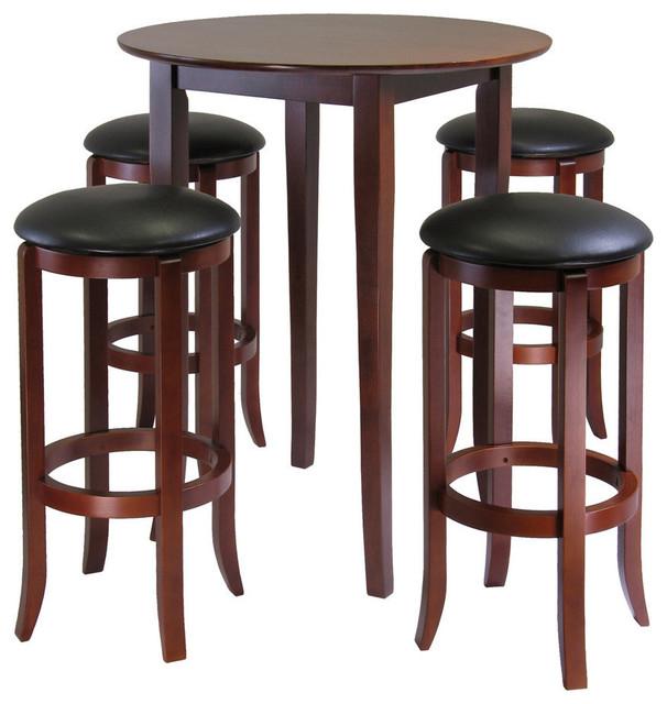 Winsome Wood Fiona 5 Piece Round High Pub Table Set W PVC Stools Contempor