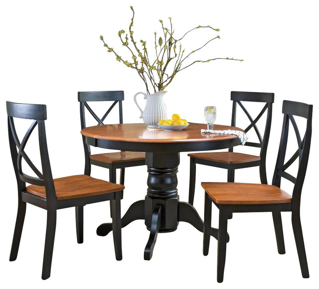 home styles 5 piece round pedestal dining table set in