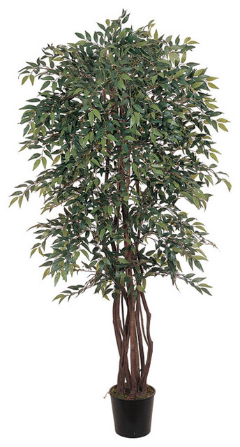 Smilax 6-foot Silk Tree contemporary-artificial-flowers-plants-and-trees