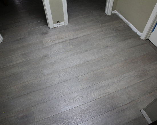 Residential remodel - Pacific Palisades - Custom grey European oak floor installed