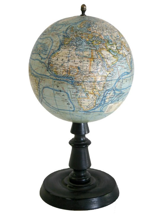 """French Terrestrial Globe Forest - This 9 inches French globe is a """"forest """" with an address in Paris , 44 rue des Champs , this company was a School supply and a map editor company during the 19th. century which disappeared in the early 20th."""