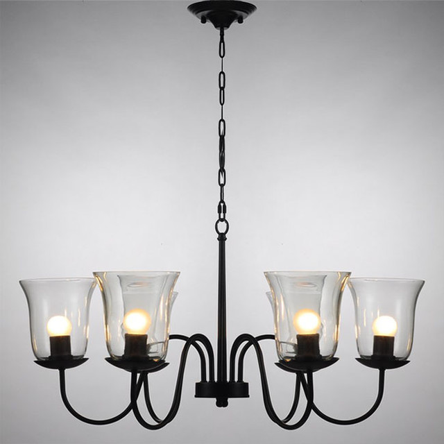 Northic Country 6 Clear Glass shades Iron Chandelier