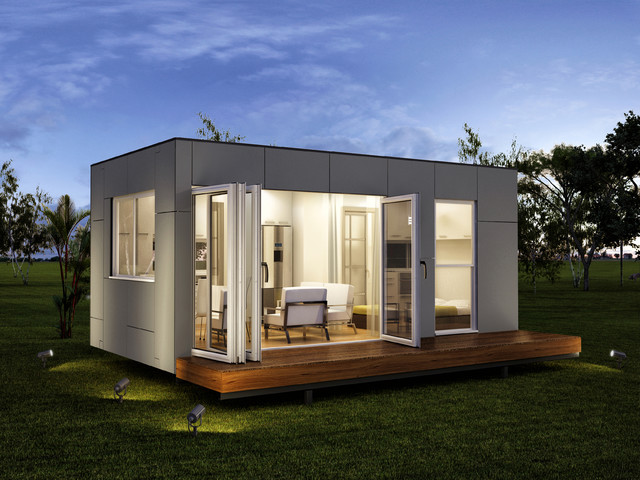 Rennes one bedroom granny flats modular home modern for Modular pool house