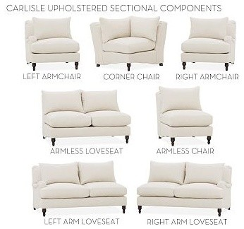 Carlisle Upholstered Upholstered Corner, Down-Blend Wrap Cushions, Performance T traditional-decorative-pillows