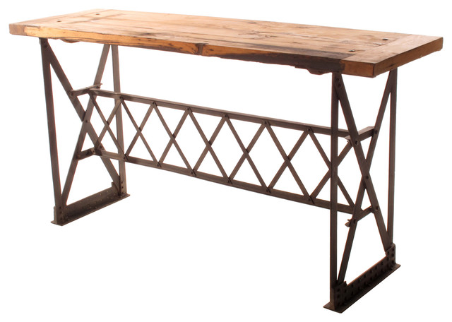 Riveter's Industrial Modern Chunky Wood Console Table - eclectic