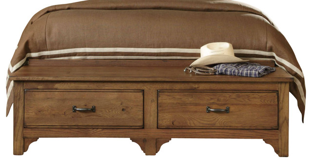 Kincaid Homecoming Solid Wood Storage Footboard Bench King In Vintage Oak Traditional