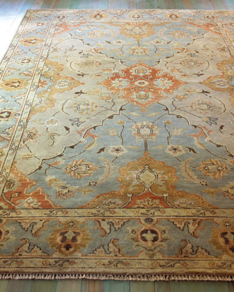 Damask on Blue Rug traditional-rugs