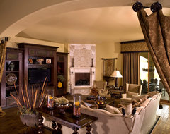 Mediterranean Family Room rustic family room