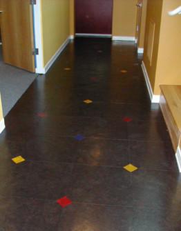 Natural cork tiles in Ebony, Scarlet, Lemon and Ocean Blue contemporary
