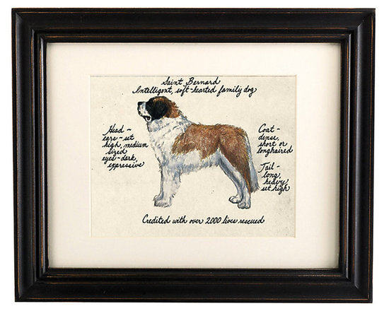 Ballard Designs - Saint Bernard Dog Print - Hand colored & signed. Printed on parchment. Eggshell mat. Antique black frame. Our Saint Bernard Dog Print was created by the dog-loving, husband and wife team of Vivienne and Sponge. The Saint Bernard is known for being intelligent and a softhearted family dog. Each Saint Bernard portrait is hand colored and embellished with notes on the breed's special characteristics. Printed on antiqued parchment, signed by the artists and framed in antique black wood with eggshell mat and glass front. Saint Bernard Dog Print features:. . . . *Please note that personalized items are non-returnable.