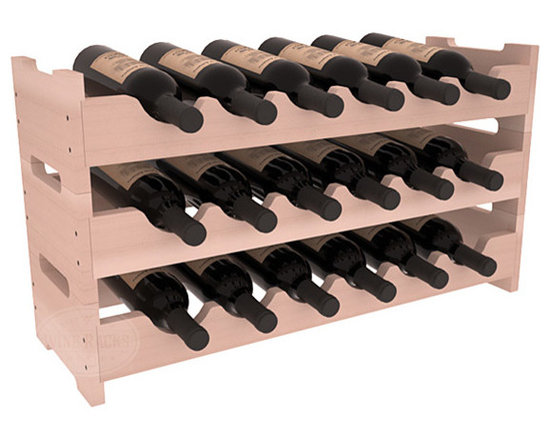18 Bottle Mini Scalloped Wine Rack in Redwood with White Wash Stain -