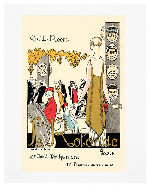 La Rotonde, Paris 1925 Vintage Menu Art Print, 16x20 eclectic-prints-and-posters