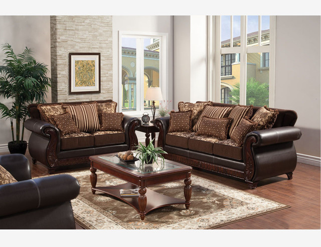Traditional Brown Fabric Leather Sofa Couch Loveseat