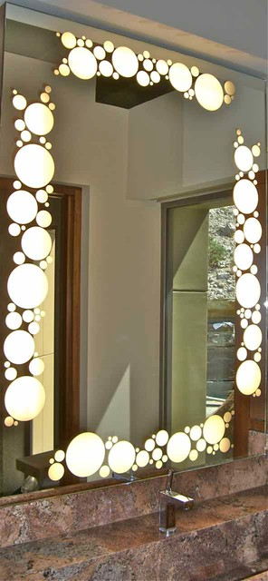 Bubbles Border - Back lit Mirrors modern-mirrors