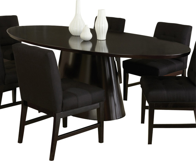 pedestal oval dining table in sleek black traditional dining tables