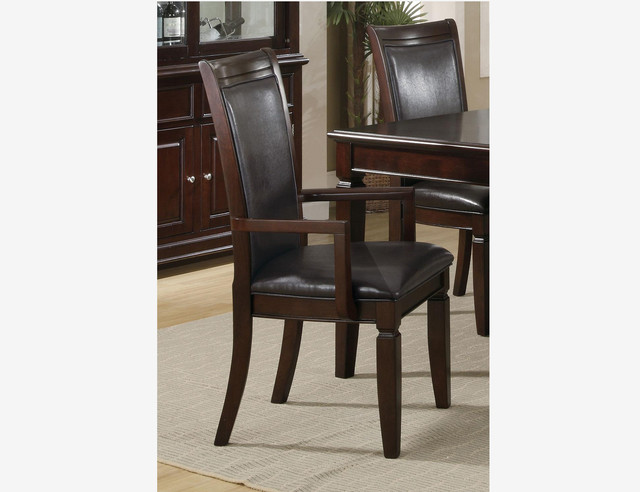 2 PC Walnut Wood Dining Arm Chairs Leather Seat Coaster  : contemporary dining chairs from www.houzz.com size 640 x 492 jpeg 58kB