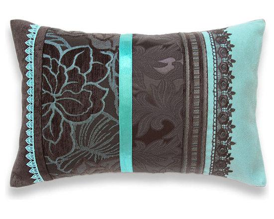 Turquoise Blue Dark Chocolate Brown Lumbar Pillow Case 12 x 18 in IRMA DESIGN Li -