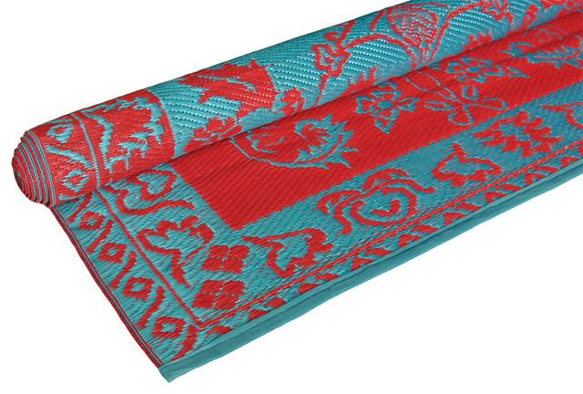 Brocade Duo Tone Floor Mat Red Turquoise Eclectic