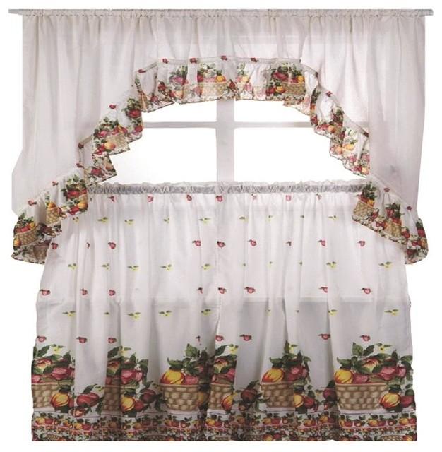Fruit Basket Printed Kitchen Curtain Swag Set