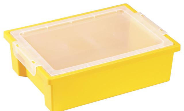 Ecr4Kids Rectangular Small Storage Organizer Plastic Bin With Lid Yellow 20 Pack - Contemporary ...