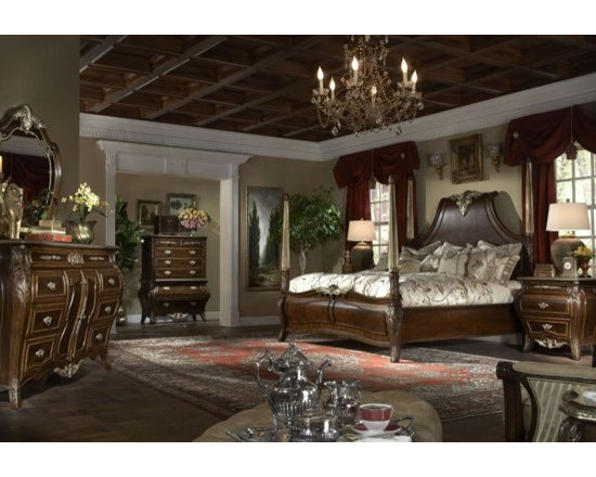 AICO Furniture - Imperial Court 6 Piece Queen Size Poster Bedroom Set with Chest - Set includes Queen Bed, Dresser, Mirror, Nightstand and Chest