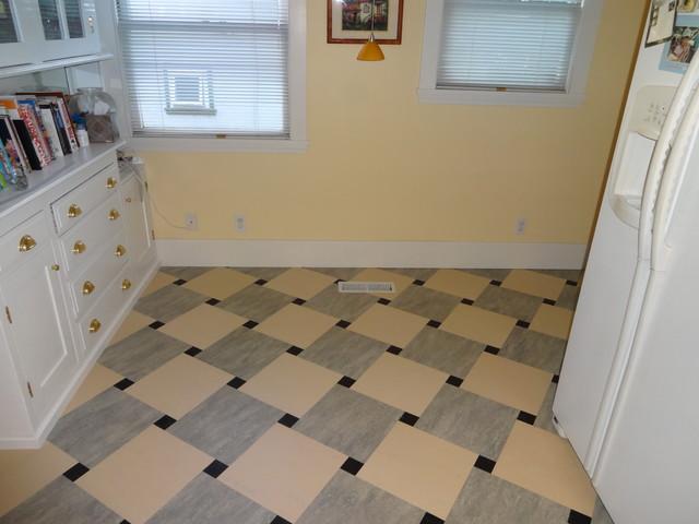 Marmoleum dual tile kitchen floor craftsman wall and for Kitchen floor tiles