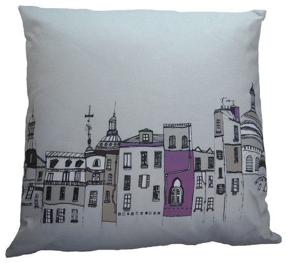 Streets of Paris Grey Cushion modern pillows