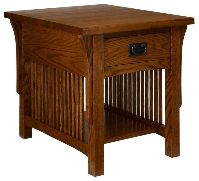Arts and crafts end table w drawer golden oak for Arts and crafts side table