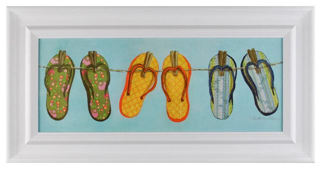 Elizabeth Jane Art Collection Clothesline Flip Flops II Wall Art contemporary-artwork
