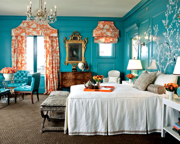 Orange and Turquoise Chinoiserie - Kendall Wilkinson asian bedroom