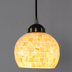 40W Tiffany Pendant Light with Globe Stained Glass Shade in Mosaic Design - USD