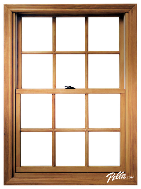 Pella proline double hung window contemporary windows for Window treatments for double hung windows